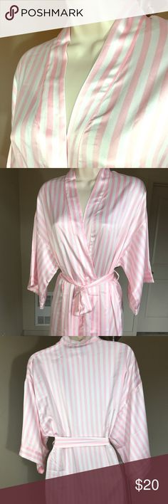 Victoria's Secret Very Sexy Kimono Robe Pink Pre-owned Victoria's Secret Very Sexy Kimono Robe with Pink Stripes. XS/S, TP/P. Length: 31 inches. Width: 20 inches. 100% Polyester. Feels very soft and luxurious! Victoria's Secret Intimates & Sleepwear Robes