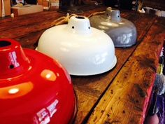 New! enamel light shades in our gift shop at The Steel Rooms