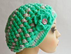 Aqua Green Puff Stitch Beanie Golden Heart, Heart Crafts, Aqua, Crochet Hats, Beanie, Stitch, Green, Fashion, Knitting Hats