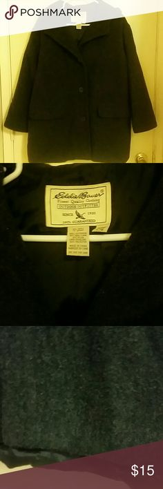 Eddie  bauer Wool  Jacket Shell  is 80% wool 20% nylon lining is polyester in the back lining  hangs down a little  as shown  in picture it has two front  pockets buttons around  neck to keep  you warm  plus  a hood asking $10 for jacket Eddie Bauer Jackets & Coats