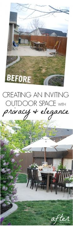 Great ideas for creating an inviting and elegant outdoor space using thrifted finds, DIY projects, and lots of gorgeous flowers!