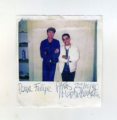Polaroid of Martin Margiela with Felipe Salgado in Paris. 1990.
