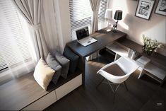 Get Spirit Working With These Home Office Designs : Enthralling Home Office Design Inspiration with Wooden Work Table Integrated with Wooden Bookshelves and Cream Modern Chair also Black and White Shade Table Lamp