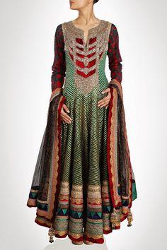 green color Royal looking floor length anarkali suit