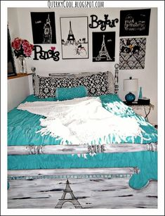 Paris themed bedroom @QuirkyCool