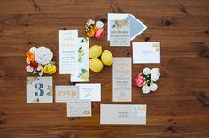 sunny citrus inspired invitation suite