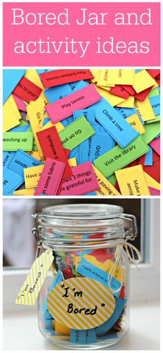 Brilliant idea for the summer holidays: 'bored jar', with lots of activity ideas for the whole family.