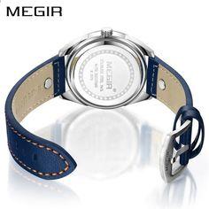 Megir Luxusní značky Muži Quartz Hodinky Pánská armáda Vojenská sportovní  hodinky Originální kožená kapela Vodotěsné hodiny 6e7bff55cb9