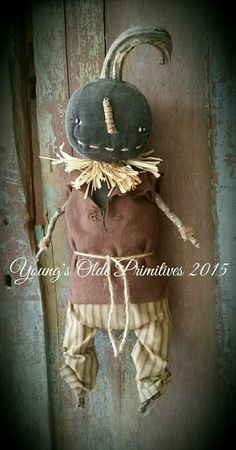 Primitive Black JOL Pumpkin Cupboard Hanger Doll Fall Halloween | eBay