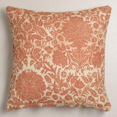 Orange Floral Jute Throw Pillow | World Market