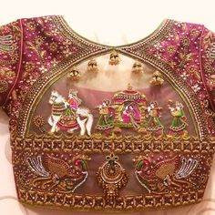 16 Unique beautiful Blouse Designs For Wedding - Blouse designs Indian Blouse Designs, Blouse Back Neck Designs, Hand Work Blouse Design, Wedding Saree Blouse Designs, Pattu Saree Blouse Designs, Stylish Blouse Design, Fancy Blouse Designs, Wedding Blouses, Traditional Blouse Designs
