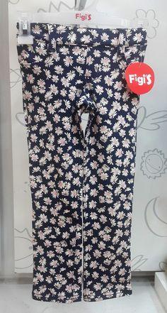 Pantalón estampado floral de margaritas rosa...MODA INFANTIL   Figi's