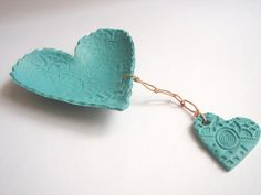 Mint green Heart Polymer clay  Decorative dish by accessory8, $16.00
