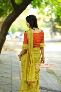 PV 4147 : Yellow and Orange .Price : Rs Look lovely in this yellow checkered soft silk sari finished with orange kudnan border. Unstitched blouse piece : Orange zari embroidered stone studded designer blouse piece as displayed on the page . For Order Simple Saree Blouse Designs, Cotton Saree Blouse Designs, Stylish Blouse Design, Fancy Blouse Designs, Bridal Blouse Designs, Blouse Patterns, Sleeves Designs For Dresses, Sarees, Sari Design