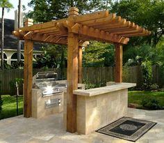 "A ""Grillzebo""! Outdoor Kitchen Shade Outdoor Kitchen Hamilton-Steele Outdoor Accents Houston, TX"