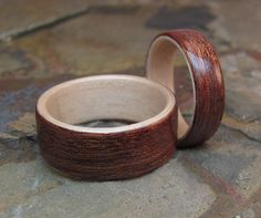 Wedding Band Bentwood Set Sapele wood with Maple by WoodFlexDesign, $200.00