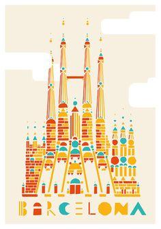Barcelona, travel, spain, la Sagrada Família, Gaudí, Guadi, poster, church, gothic