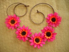 Coachella flower crown halo daisies with brown suede by triolette, $7.99