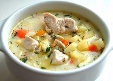 Фото к рецепту: Нежнейший сырный суп с курицей