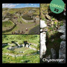 RUND ist das neue ECKIG! Chysauster ist eine eisenzeitliche Siedlung, die von 100 v. Chr. bis zum 3. Jh. n. Chr. bewohnt wurde. Der Platz liegt 175m über dem Meeresspiegel. Die Siedlung wurde vermutlich von den keltischen Dumnonii erbaut. Sie besteht aus acht Bauten. Jedes Haus hat einen Durchmesser von ca. 30m und verfügt über einen Innenhof. Um diesen Innenhof liegen mehrere kreisförmige Kammern. #ArchaeologicalRoadtrip #Cornwall #EnglishHeritage Cornwall, Golf Courses, Road Trip, Human Settlement, Internal Courtyard, Pool Chairs, Round Round, Road Trips