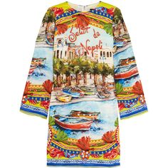 Dolce & Gabbana Embellished printed stretch-silk tunic ($840) ❤ liked on Polyvore featuring tops, tunics, orange, orange tunic, loose fitting tops, loose tops, embellished tunic and dolce gabbana top