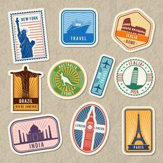 Travel Stickers Set With Different Worldwide Architectural Symbols. Vector Labels With Grunge Textur Wedding Badges, Travel Stamp, Back Art, Vintage Ornaments, Vintage Labels, Typography Logo, Journal Cards, Banner Design, School Design