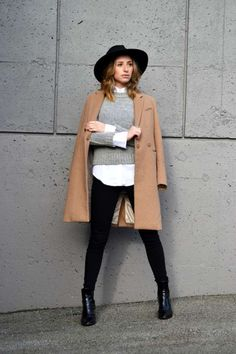Fedora outfit, fedora hats, camel coat outfit, winter coat outfits, f Outfits Casual, Outfits With Hats, Mode Outfits, Mantel Camel, How To Wear Shirt, Camel Coat Outfit, Black Fedora Outfit, Winter Coat Outfits, Fall Outfits
