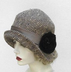 Handmade 1920'S Style Beige Tweed Clcohe Hat by Gail's Custom Hats | CustomMade.com