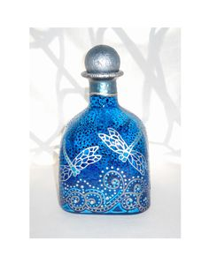 Dragonfly Art on Glass Bottle Hand Painted Decanter, Message in a Bottle - $125.00 USD