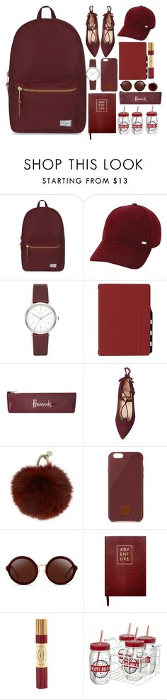 """""""burgundy"""" by blckskyn ❤ liked on Polyvore featuring Herschel Supply Co., Keds, DKNY, Harrods, Yves Salomon, Native Union, 3.1 Phillip Lim, Sloane Stationery, Fine & Candy and DRAKE"""