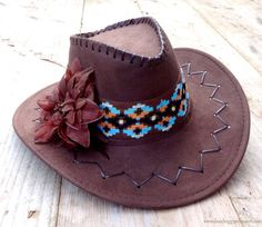 Chapeau de Ibiza Gypsy Brown Faux daim  par DazzlingGypsyQueen