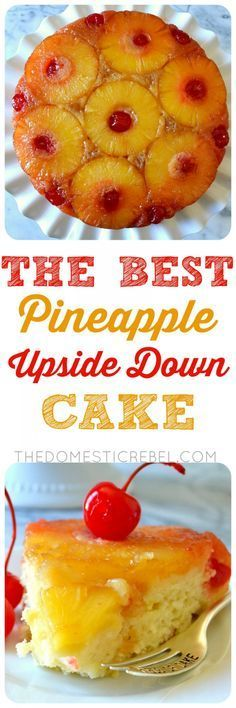 This is the BEST recipe for Pineapple Upside Down Cake EVER! Supremely moist, soft and tender pineapple-infused cake topped with a caramelized brown sugar & butter sauce, softened pineapples and juicy cherries. So easy, impressive, and TASTY!