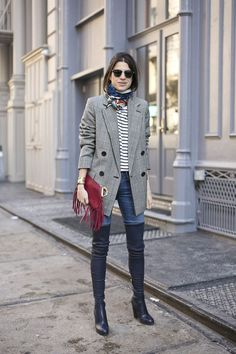 leave out the boots,,,,great sweater, jacket, scarf, purse.+