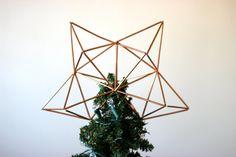 Copper Himmeli Christmas Tree Topper - minimal, modern, geometric