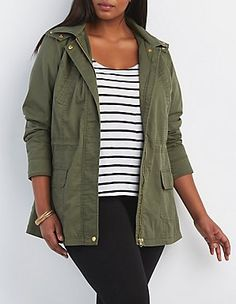 7affbe320e7 Plus Size Hooded Anorak Coat  Charlotte Russe