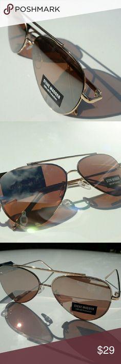 LUXURY NEW  STEVE MADDEN SUNGLASSES Luxury Gold sunglasses  ''Straight mirror glass style''  !TOP FASHION! Steve Madden Accessories Sunglasses