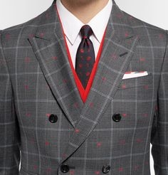 Gucci - Grey Slim-Fit Embroidered Prince of Wales Checked Wool and Cotton-Blend Suit