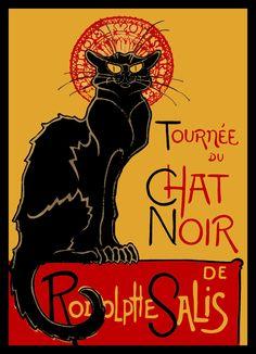 Black Cat Poster Refrigerator Magnet via LabelStone of Etsy.