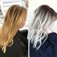 Brassy Yellow Blonde to Shadow Rooted Platinum by the talented, @beckym_hair…