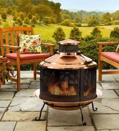 Recycled Turkish Copper Firepit/Chiminea Combo With Extra Deep Basin
