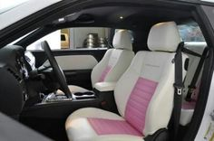 Pink and White leather interior 2013 Dodge Challenger