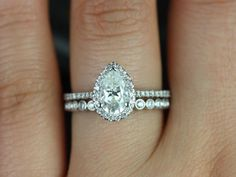 Tabitha & Petite Bubbles14kt White Gold Pear FB Moissanite and Diamonds Halo Wedding Set (Other metals and stone options available) on Etsy, $1,745.00