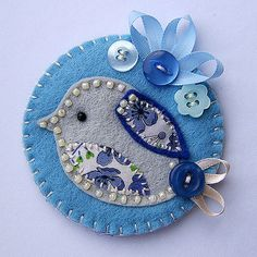 Fabric Bird Brooch inspiration--bluebird  (do something like this only with a red bird)