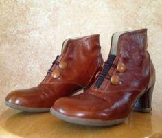 JOHN-FLUEVOG-OPERETTA-GIULIA-7-6-5-BROWN-LEATHER-ANKLE-BOOTS-BOOTIES-SHOES-HEELS