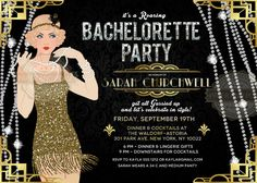 Bachelorette Birthday Invitation Milestone ANY AGE Roaring Twenties Great Gatsby Art Deco 1920s Retro