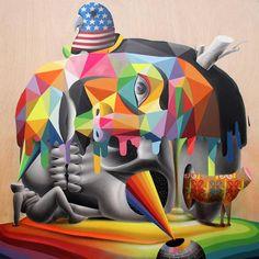Okuda San Miguel's Vibrant Mural's Jump Off Walls And Take On The Form Of Surreal Sculptures. Murals Street Art, 3d Street Art, Street Artists, Graffiti Art, Amazing Street Art, Fantastic Art, Illustrations, Illustration Art, Collages