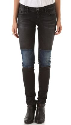 I could totally DIY these.  $173?  pffff.  | Maison Scotch La Parisienne Patchwork Skinny Jeans