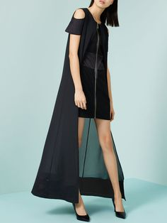 Black H-line Sleeveless Maxi Dress