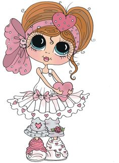 """Photo from album """"Sweet Girl /Милая девочка"""" on Yandex. Cute Images, Cute Pictures, Colouring Pages, Coloring Books, Besties, Art Mignon, Digi Stamps, Copics, Cute Dolls"""