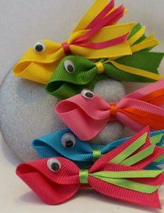 Items similar to Fish Hair Clips, Summer accessories, Fish Hair Bows on Etsy Ribbon Art, Ribbon Crafts, Ribbon Bows, Hat Crafts, Ribbon Flower, Hair Ribbons, Diy Hair Bows, Diy Hair Accessories, Summer Accessories